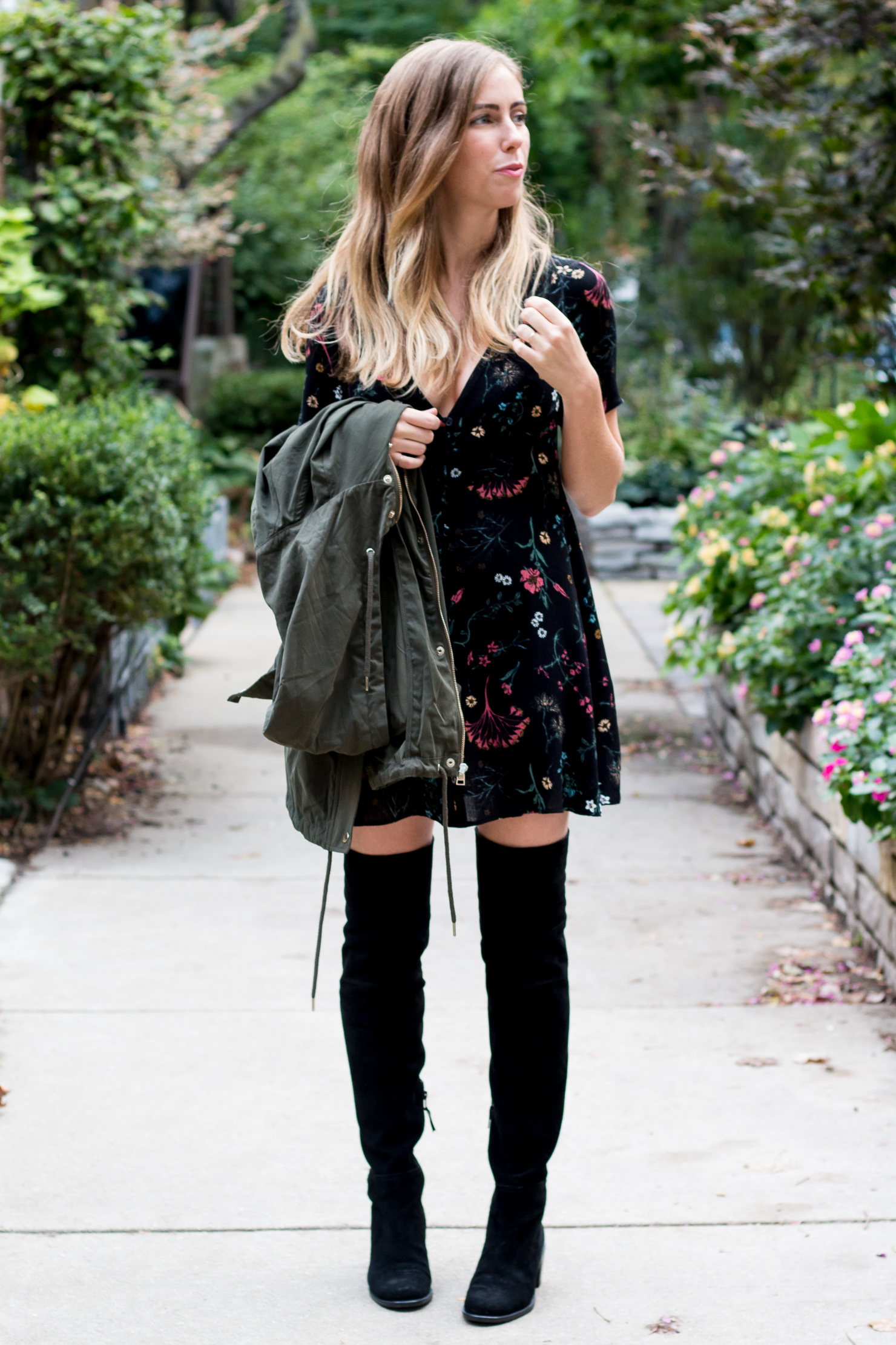 floral dress, over the knee boots