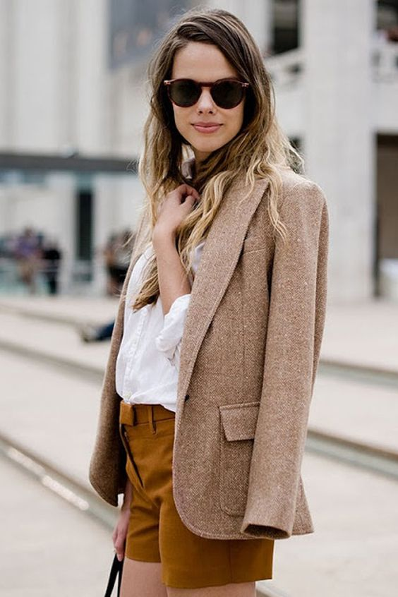 tweed blazer over shoulder