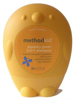 Method Kid Squeaky Green Fuzzy Peach 3-in-1 Shampoo
