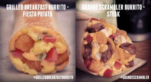 Taco Bell Fiesta Potato Grilled Breakfast Burrito and Steak Grande Scrambler Burrito