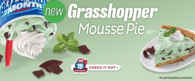 DQ Grasshopper Mousse Pie Blizzard
