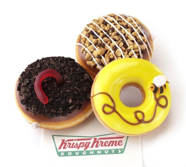 Krispy Kreme Oreo Dirt Cake S mores and Honey Bee Doughnuts