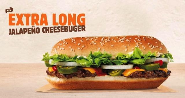 Burger King Extra Long Jalapeno Cheeseburger
