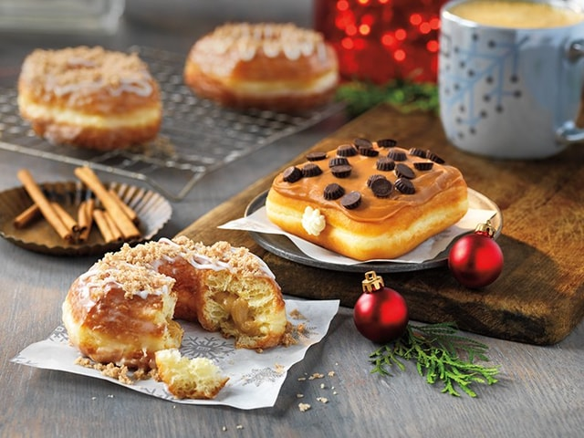 Dunkin Donuts Snickerdoodle Croissant Donut and Caramel Cheesecake Square