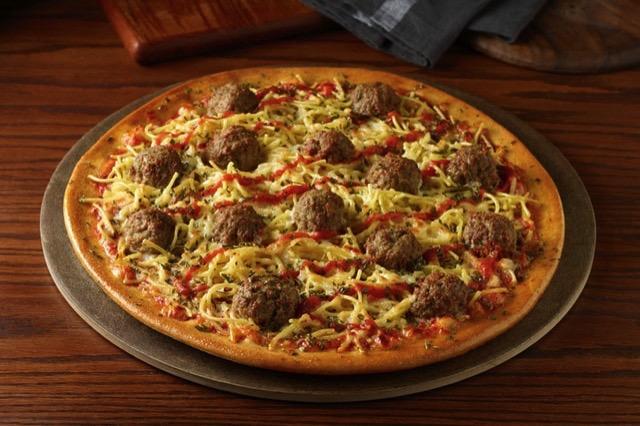 Chuck E Cheese Spaghetti and Meatballs Pizza