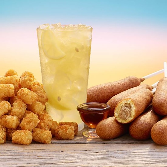 Hot Dog on a Stick Sausage on a Stick with Maple Syrup and Tater Tots