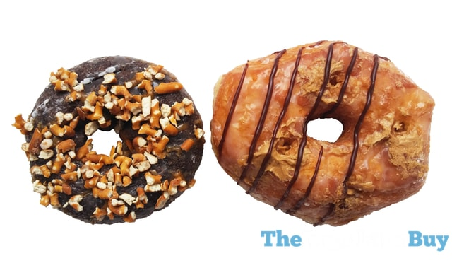 Dunkin Donuts Peanut Butter Delight Croissant Donut and Chocolate Pretzel Donut