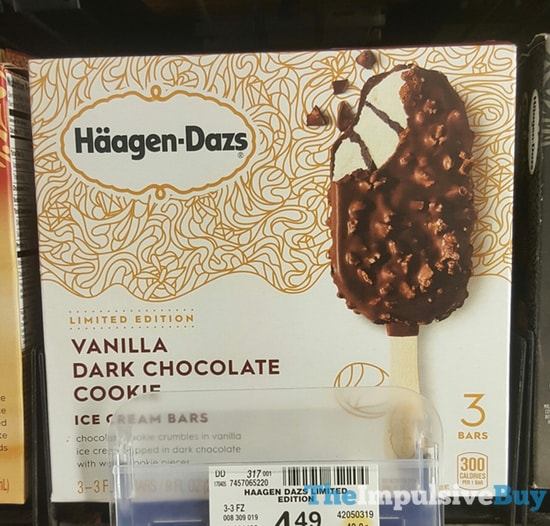 Haagen Dazs Limited Edition Vanilla Dark Chocolate Cookie Ice Cream Bars