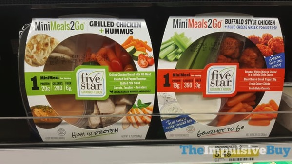 Five Star Gourmet Foods Mini Meals 2 Go  Grilled Chicken + Hummus and Buffalo Style Chicken