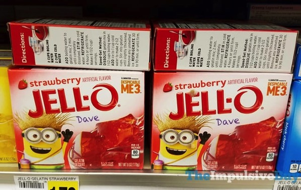 Jello Despicable Me 3 Dave Strawberry Gelatin