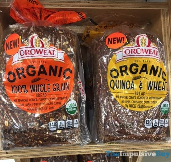 Oroweat Organic 100 Whole Grain and Quinoa  Wheat Breads