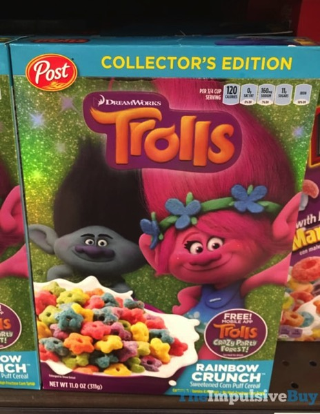 Post Collector s Edition DreamWorks Trolls Rainbow Crunch Cereal