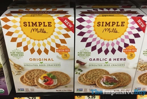 Simple Mills Original and Garlic  Herb Sprouted Seed Crackers