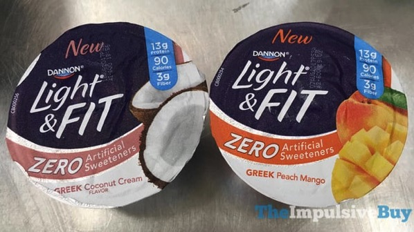 Dannon Light  Fit Zero Greek Peach Mango and Greek Coconut Cream