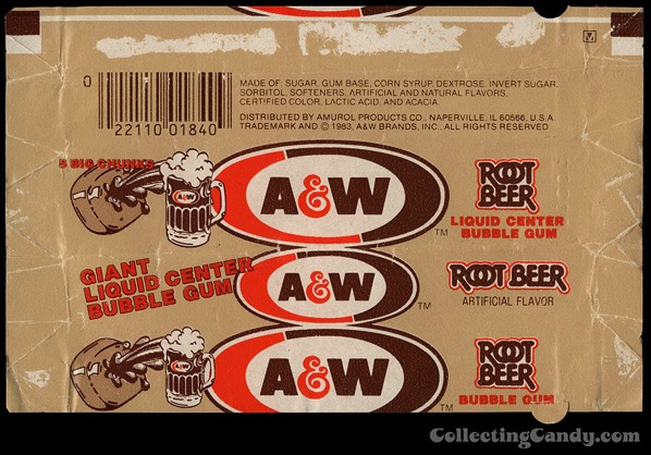 CC Amurol AW Root Beer liquid center bubble gum pack wrapper 1983