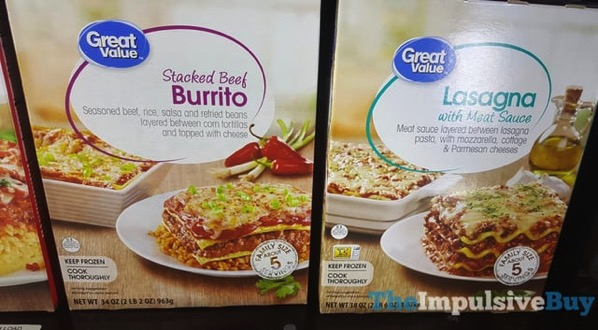 Great Value Stacked Beef Burrito and Lasagna with Meat Sauce