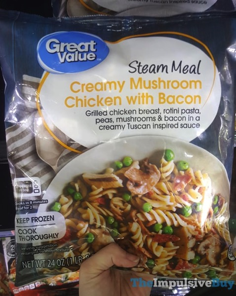 Great Value Steam Meal Creamy Mushroom Chicken with Bacon