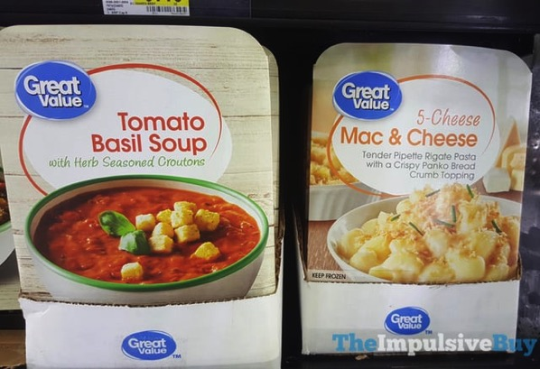 Great Value Tomato Basil Soup and 5 Cheese Mac  Cheese