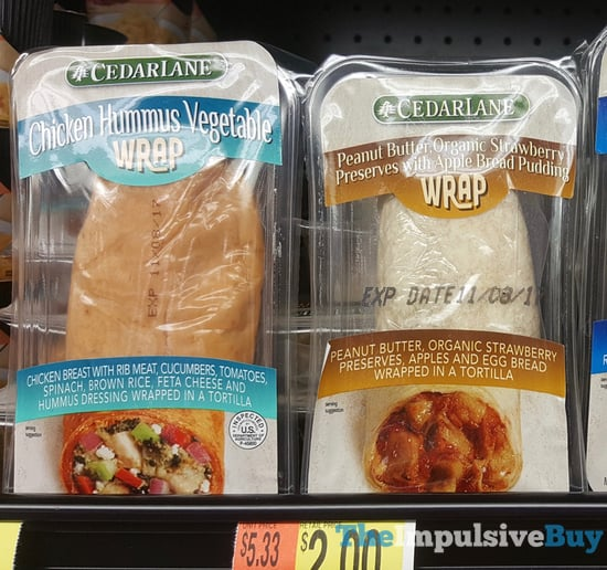 Cedar Lane Chicken Hummus Vegetable Wrap and PB J Wrap