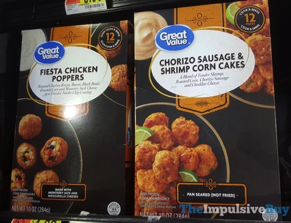 Great Value Fiesta Chicken Poppers and Chorizo Sausage  Shrimp Corn Cakes