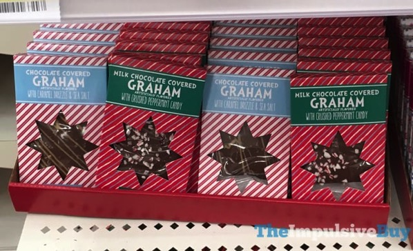 Chocolate Covered Graham with Caramel Drizzle  Sea Salt and Milk Chocolate Covered Graham with Crushed Peppermint Candy