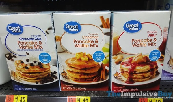 Great Value Chocolate Chip Cinnamon and PB J Pancake  Waffle Mixes