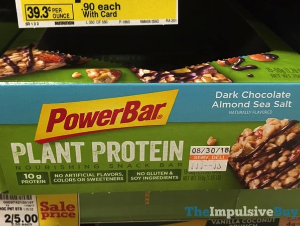 PowerBar Dark Chocolate Almond Sea Salt Plant Protein Snack Bar