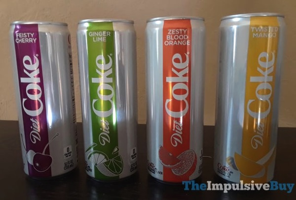 Diet Coke Feisty Cherry Ginger Lime Twisted Mango and Zesty Blood Orange