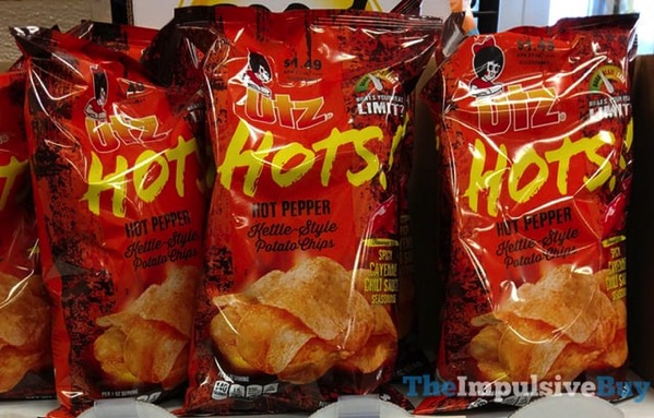 Utz Hots Spicy Cayenne Chili Sauce Kettle Style Potato Chips