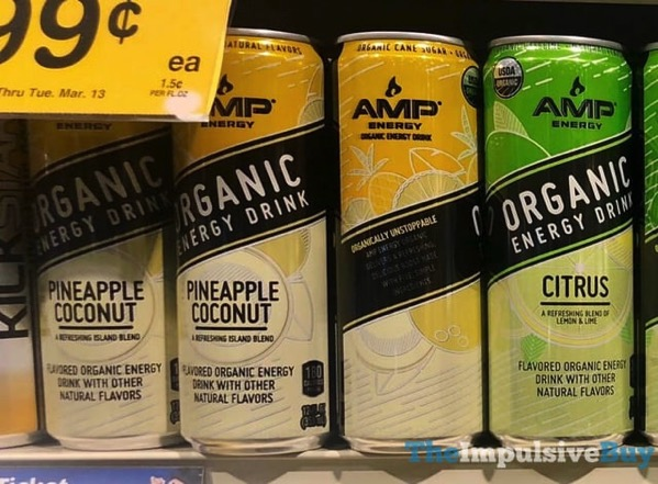 Amp Energy Organic Energy Drink  Pineapple Coconut and Citrus