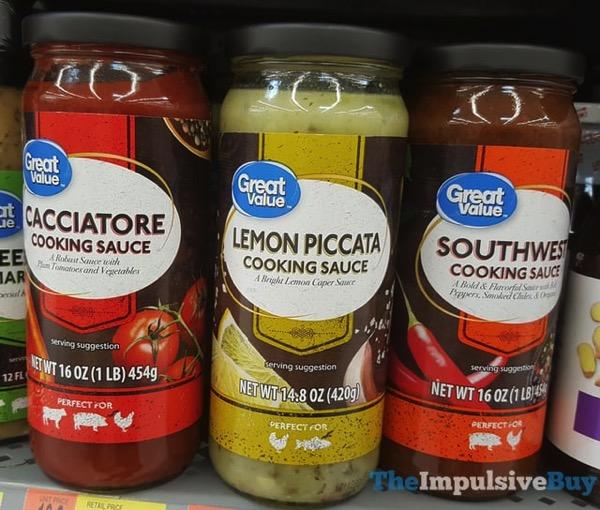 Great Value Cookies Sauce  Cacciatore Lemon Piccata and Southwest