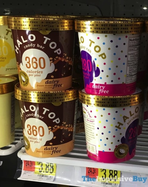 Halo Top Dairy Free Frozen Dessert  Candy Bar and Birthday Cake