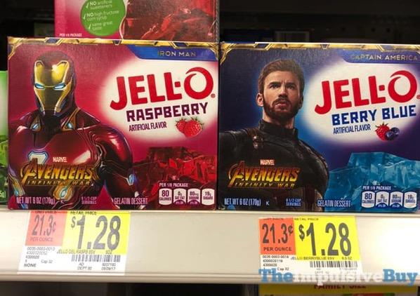 Jello Marvel Avengers Infinity War Iron Man Raspberry and Captain America Berry Blue Gelatin Mixes