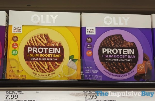 Olly Protein + Slim Boost Bar  Zesty Lemon Creme and Salted Caramel Chocolate