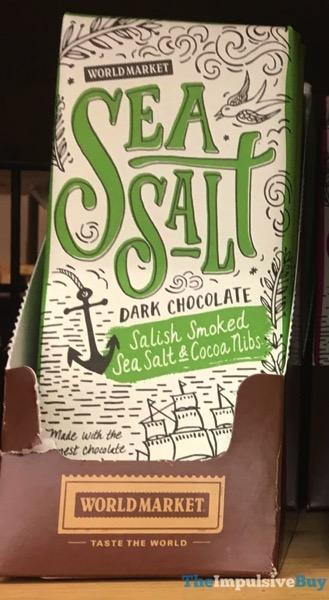 World Market Sea Salt Dark Chocolate Salish Smoked Sea Salt  Cocoa Nibs Bar