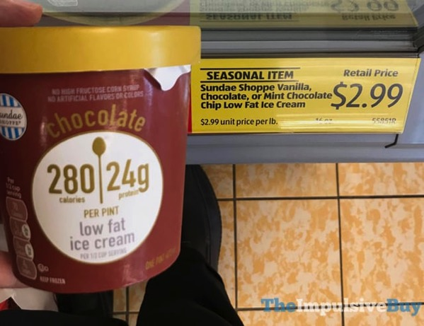 ALDI Sundae Shoppe Chocolate Low Fat Ice Cream
