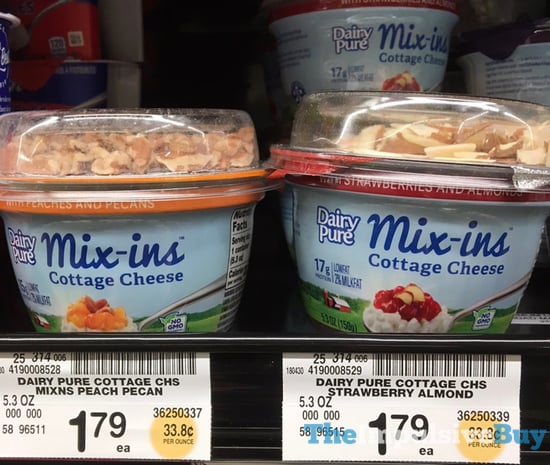 Dairy Pure Mix ins Cottage Cheese  with Peaches and Pecans and with Strawberries and Almonds