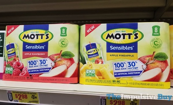 Mott s Sensibles Juice Pouches  Apple Raspberry and Apple Pineapple