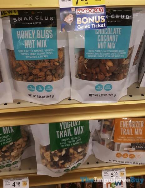 Snak Club Honey Bliss Nut Mix Chocolate Coconut Nut Mix Yogurt Trail Mix and Energizer Trail Mix