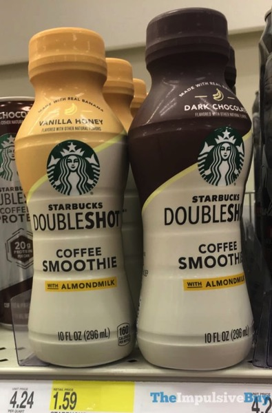 Starbucks Doubleshot Coffee Smoothies with Almondmilk  Vanilla Honey and Dark Chocolate