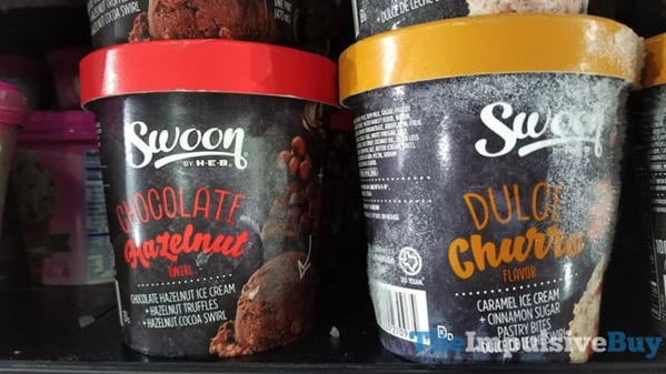 Swoon by H E B Chocolate Hazelnut and Dulce Churro Ice Creams