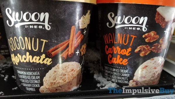Swoon by H E B Coconut Horchata and Walnut Carrot Cake Ice Creams