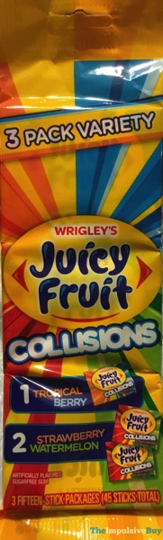 Wrigley s Juicy Fruit Collisions Gum  Tropical Berry and Strawberry Watermelon