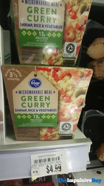 Kroger Microwavable Meal Green Curry Shrimp Rice  Vegetables