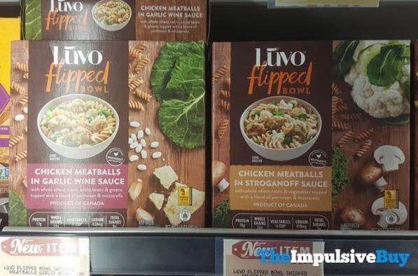 Luvo Flipped Bowls  Chicken Meatballs in Garlic Wine Sauce and Chicken Meatballs in Stroganoff Sauce