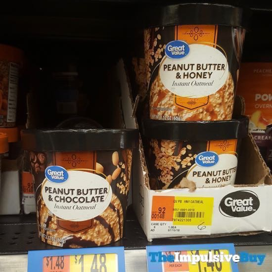 Great Value Peanut Butter  Chocolate and Peanut Butter  Honey Instant Oatmeal