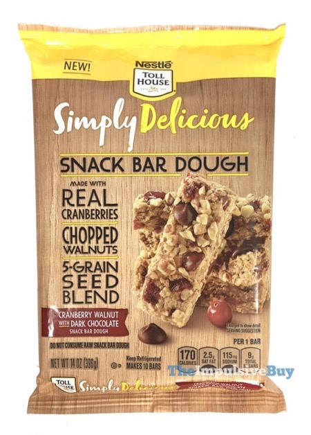 Nestle Toll House Simply Delicious Cranberry Walnut with Dark Chocolate Snack Bar Dough