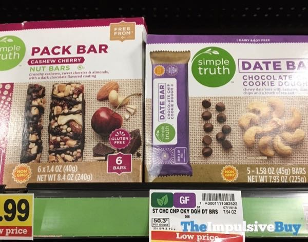 Simple Truth Pack Bar Cashew Cherry Nut Bars and Chocolate Cookie Dough Date Bar