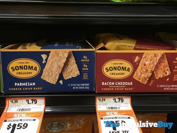Sonoma Creamery Cheese Crisp Bars  Parmesan and Bacon Cheddar