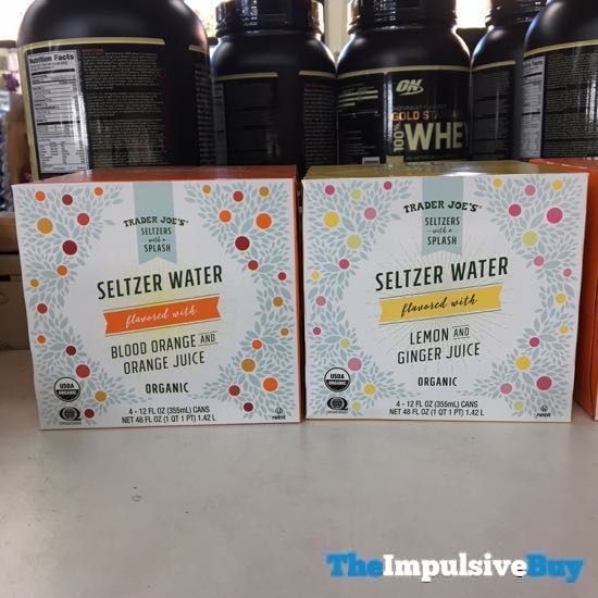 Trader Joe s Seltzer Water Blood Orange and Orange Juice and Lemon and Ginger Juice